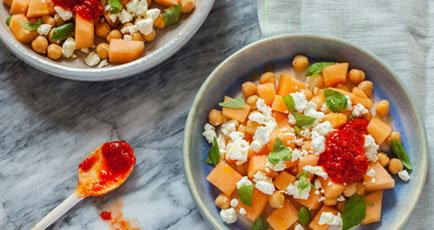 MELON SALAD WITH CHICKPEAS & BASIL